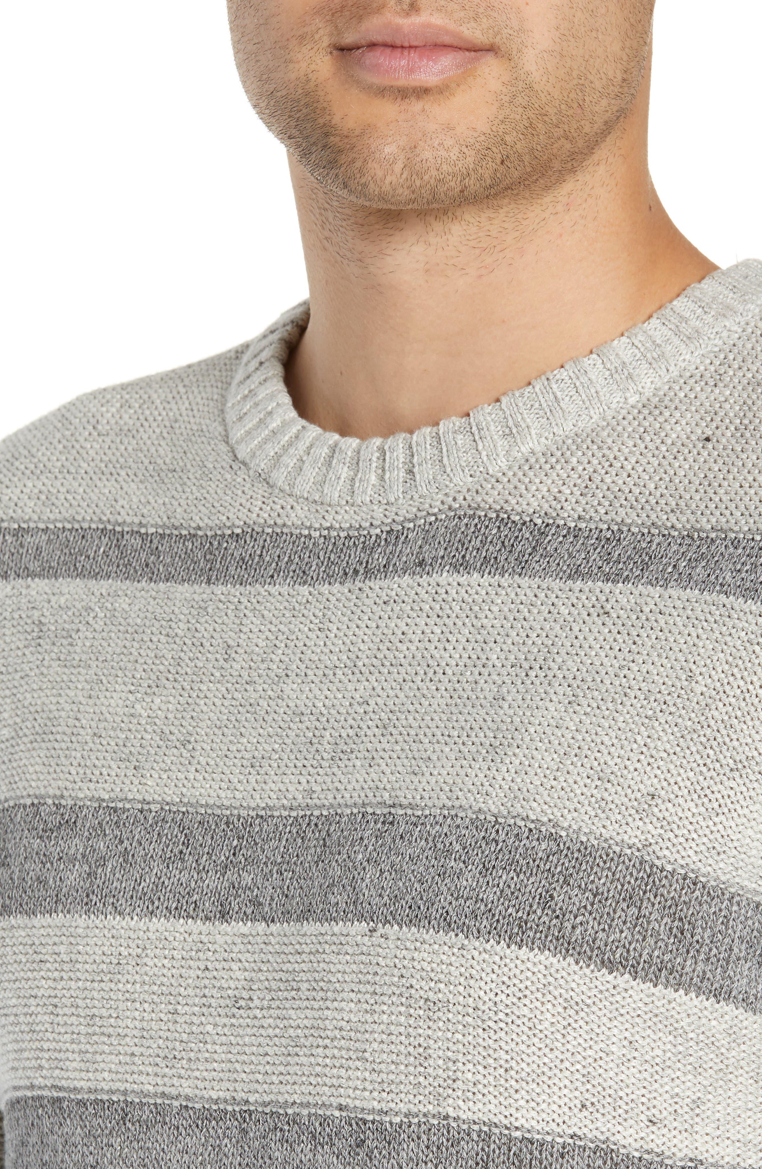 ,                             Gilpin Stripe Linen Blend Crewneck Sweater,                             Alternate thumbnail 4, color,                             LIGHT GREY MELANGE STRIPE