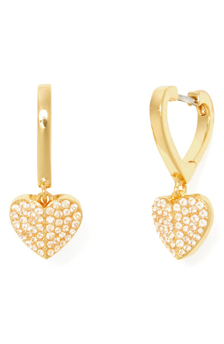 KATE SPADE NEW YORK heart to heart pavé huggie hoop earrings, Main, color, CLEAR/ GOLD