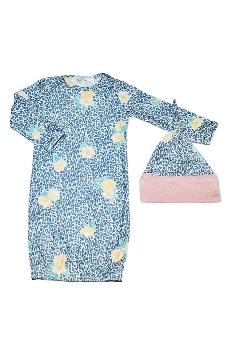 EVERLY BY BABY GREY Baby Grey Gown & Hat Set, Main, color, JUNGLE FLORAL