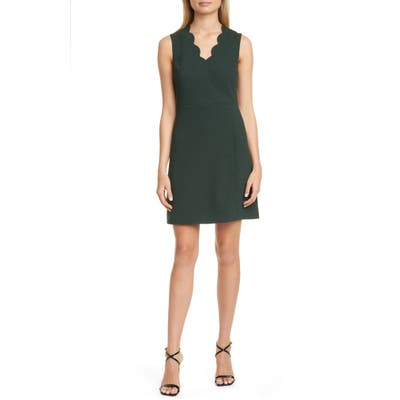 Ted Baker London Furnaed Scallop Cocktail Dress, (fits like 0-2 US) - Green