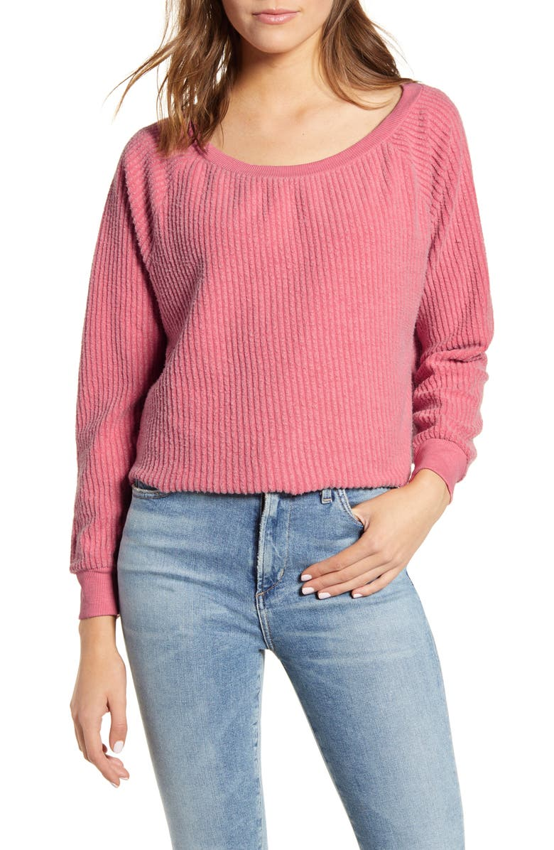 WILDFOX Tilda Ribbed Cotton Blend Crop Sweatshirt, Main, color, FRENCH ROSE