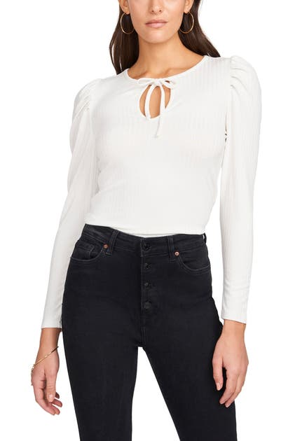 1.state TIE FRONT PUFF SLEEVE TOP