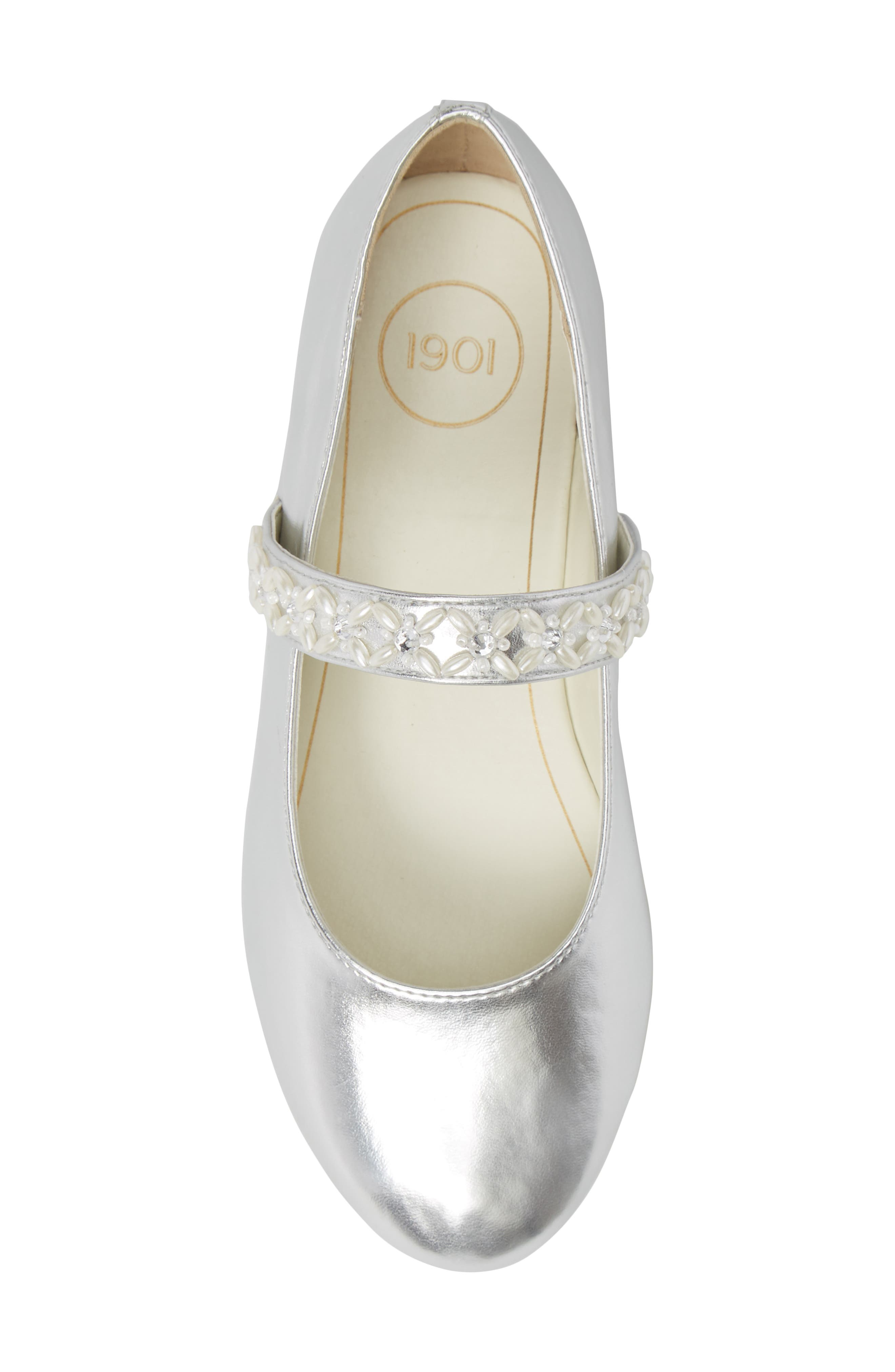 ,                             Naomi Embellished Mary Jane,                             Alternate thumbnail 5, color,                             SILVER FAUX LEATHER