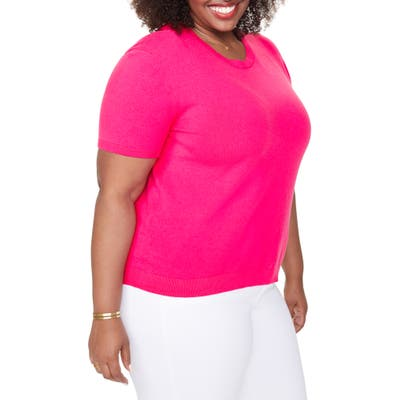 Plus Size Nydj Short Sleeve Knit Top, Pink