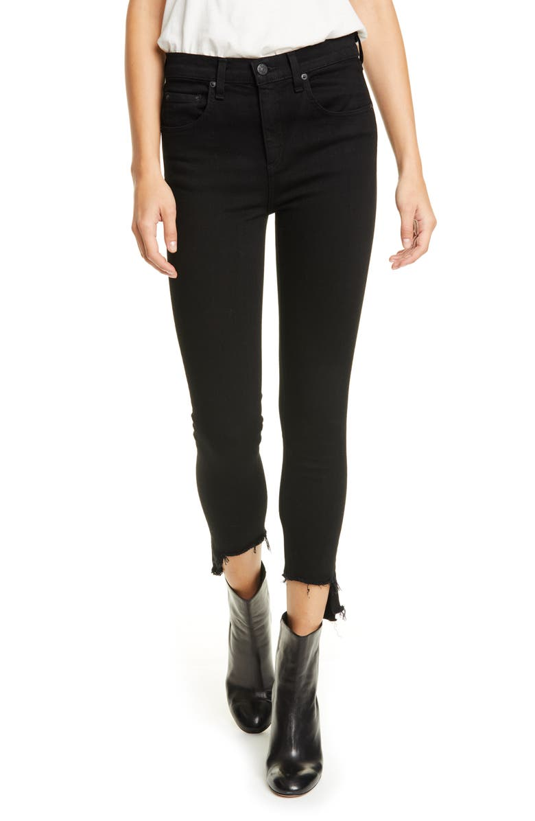 RAG & BONE Nina High Waist Ankle Skinny Jeans, Main, color, BLACK HAMPTON