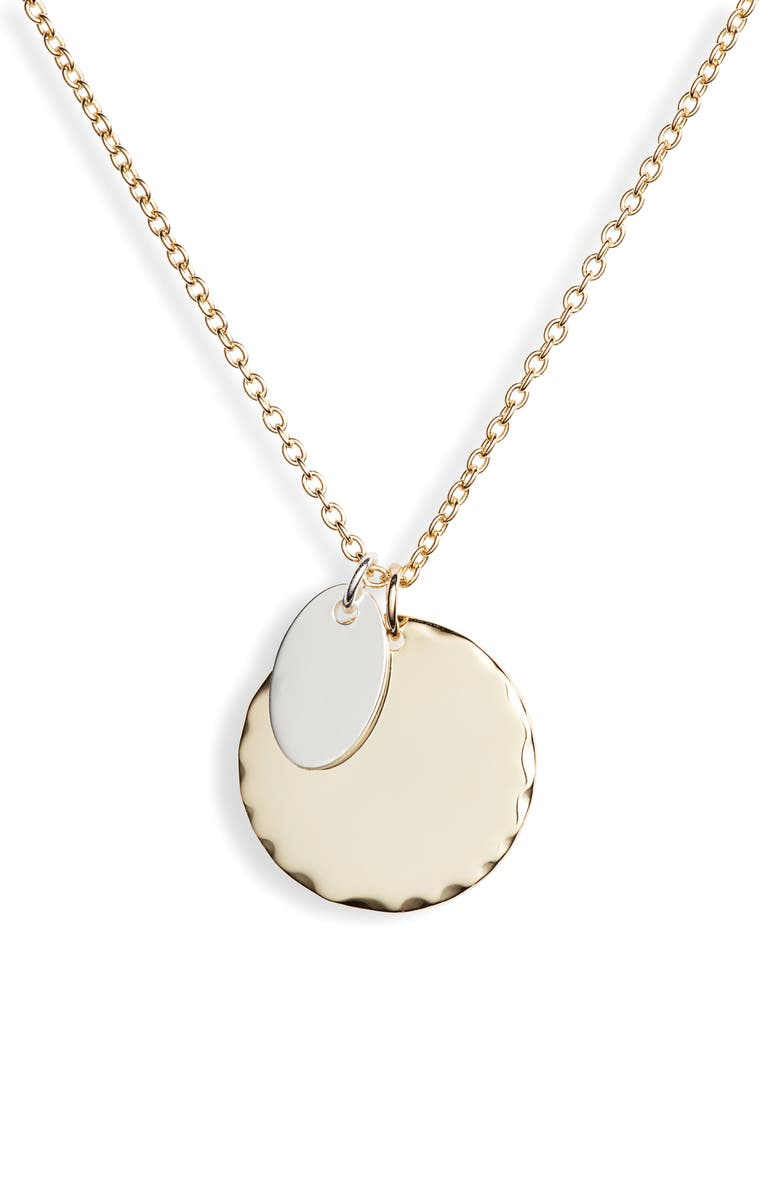 ARGENTO VIVO Two-Tone Sterling Circle Pendant Necklace, Main, color, TWO TONE