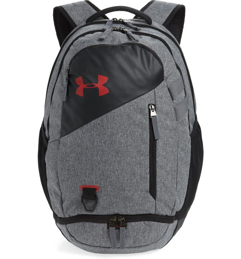 UNDER ARMOUR Hustle 4.0 Backpack, Main, color, GRAPHITE/ STADIUM RED