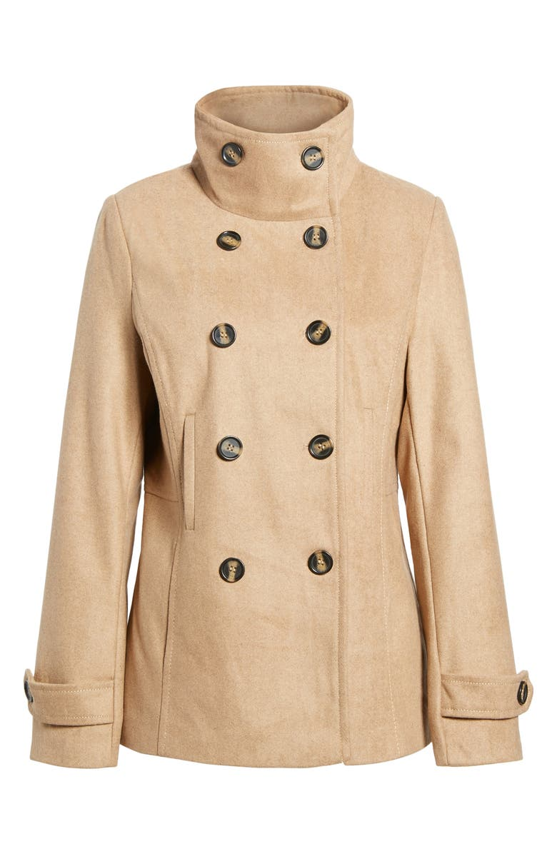 THREAD & SUPPLY Double Breasted Peacoat, Main, color, CAMEL