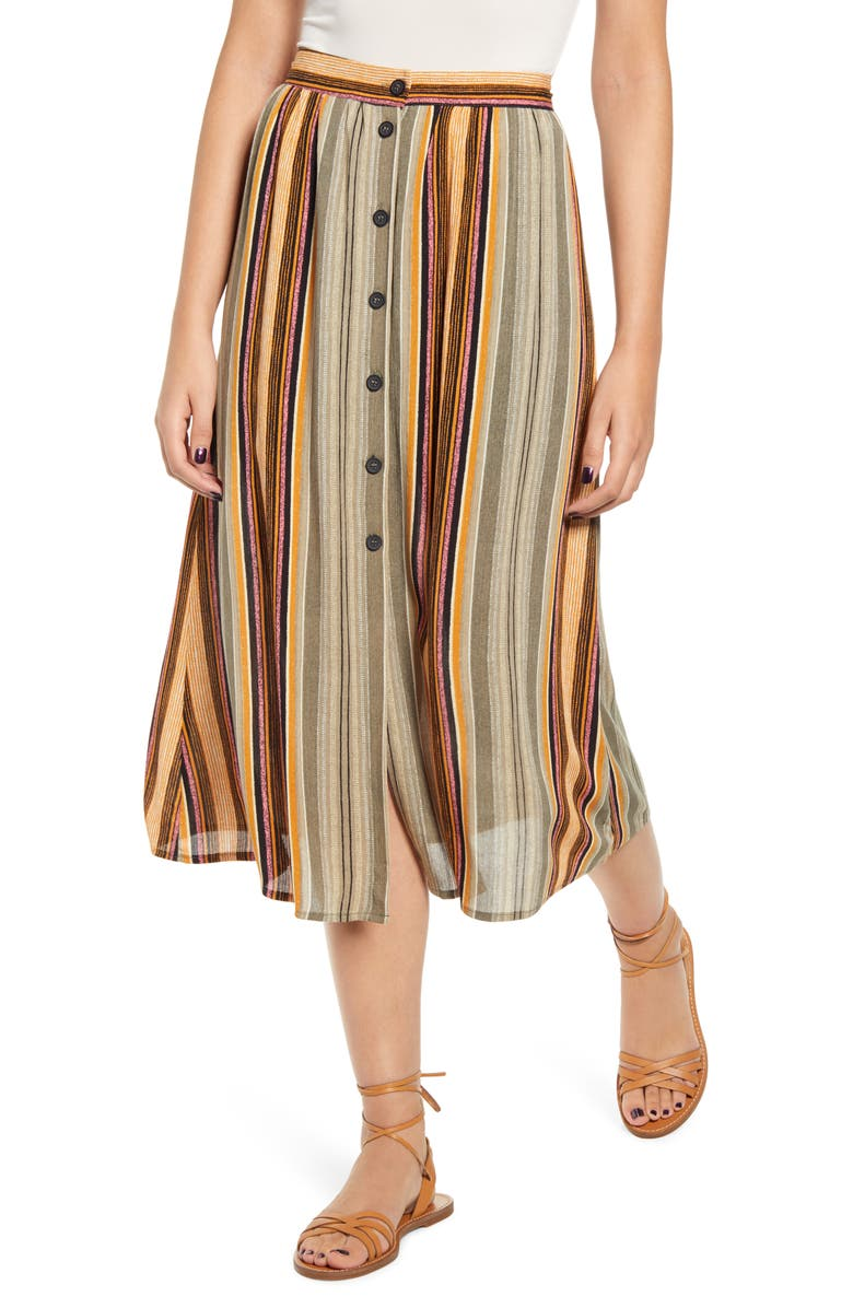 TEN SIXTY SHERMAN Stripe Button Front Midi Skirt, Main, color, GREEN