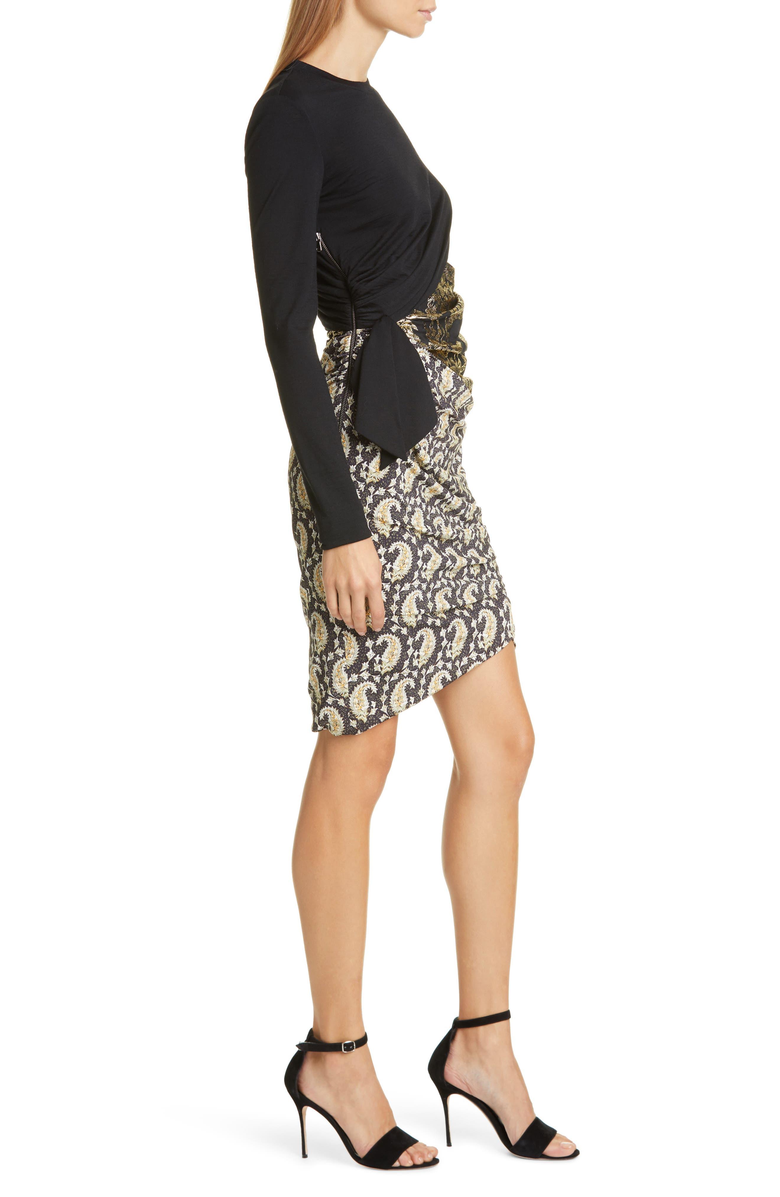 Altuzarra Dresses Ruched Patchwork Long Sleeve Minidress