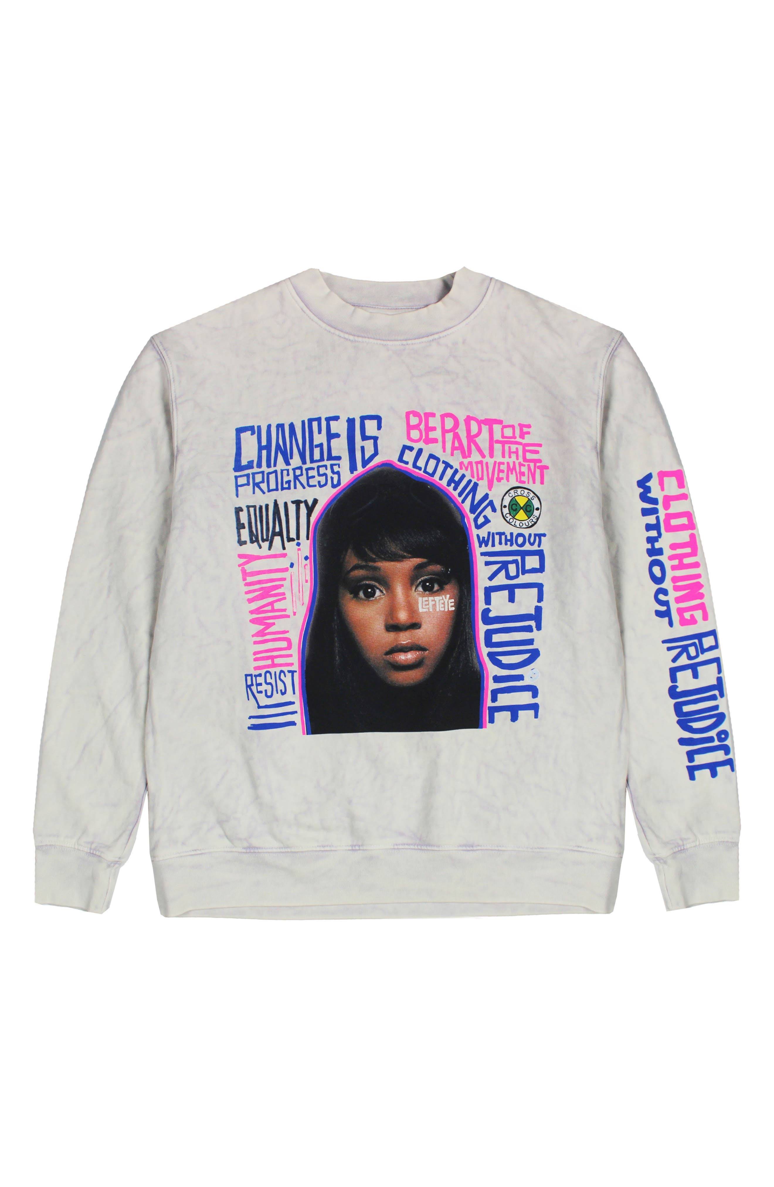 Left Eye Message Long Sleeve Cotton Blend Graphic Tee