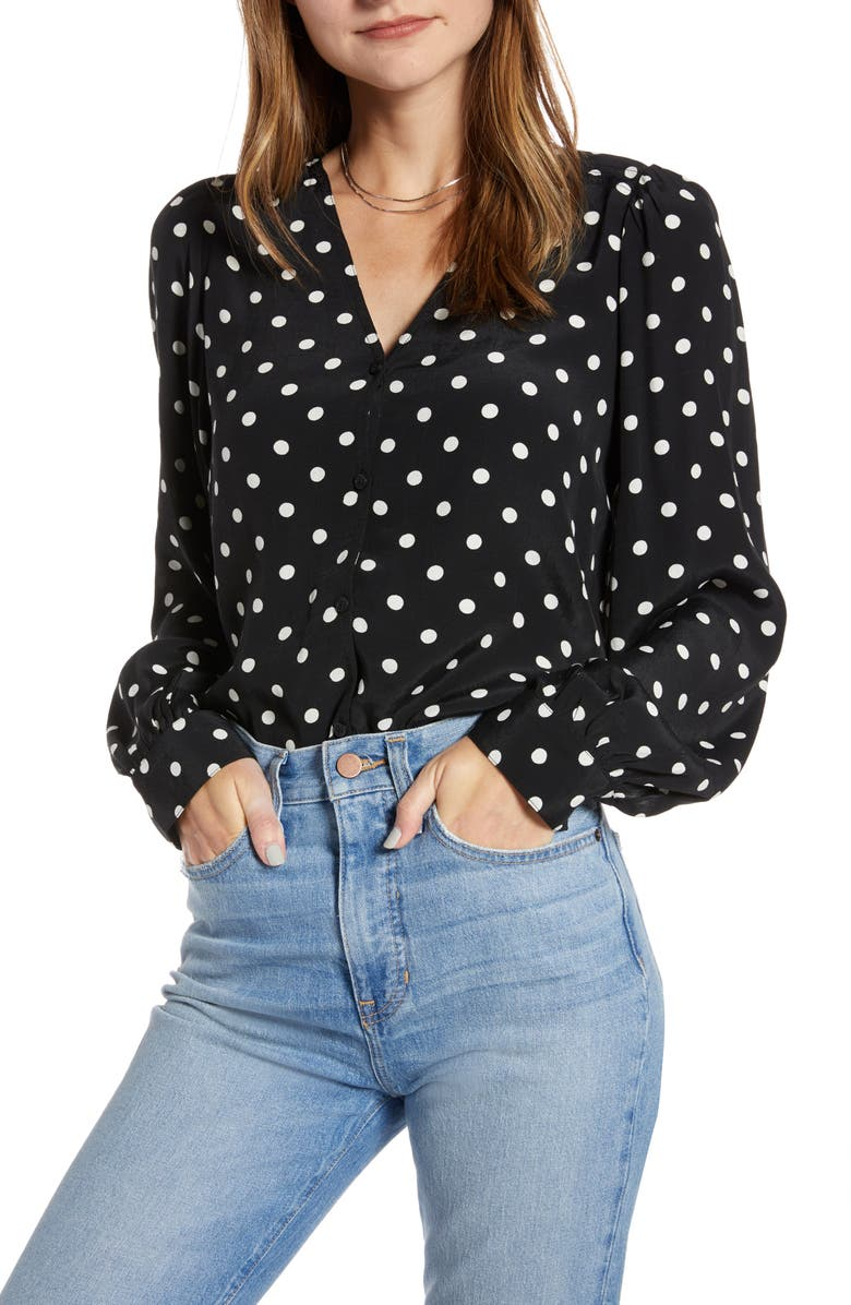 SOMETHING NAVY Balloon Sleeve Button Front Blouse, Main, color, BLACK CLASSIC DOT