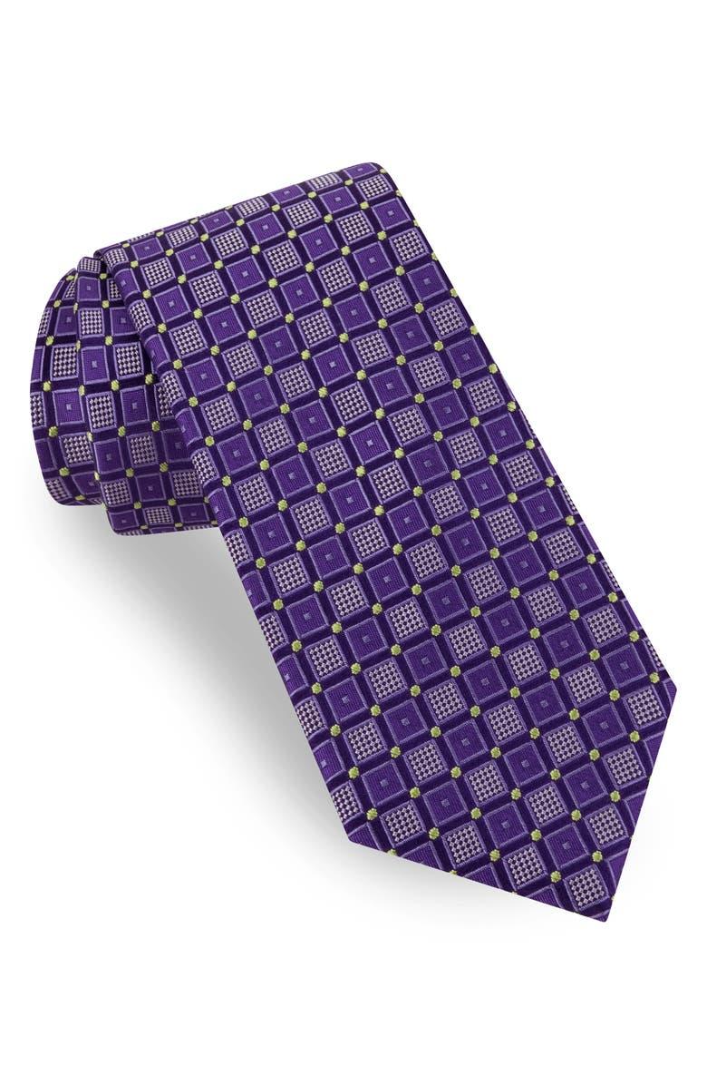 TED BAKER LONDON Outline Box Silk Tie, Main, color, PURPLE