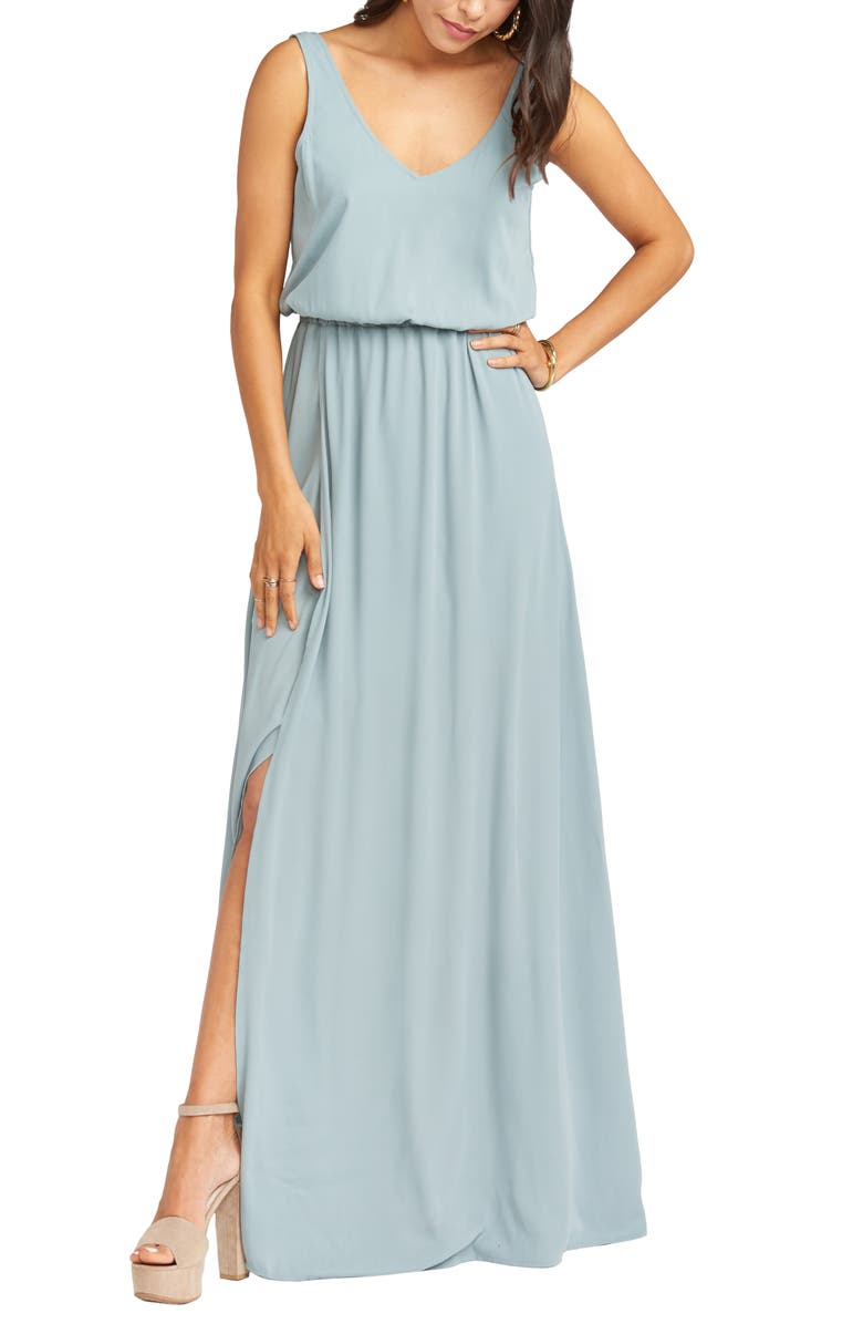 SHOW ME YOUR MUMU Kendall Blouson A-Line Gown, Main, color, SILVER SAGE