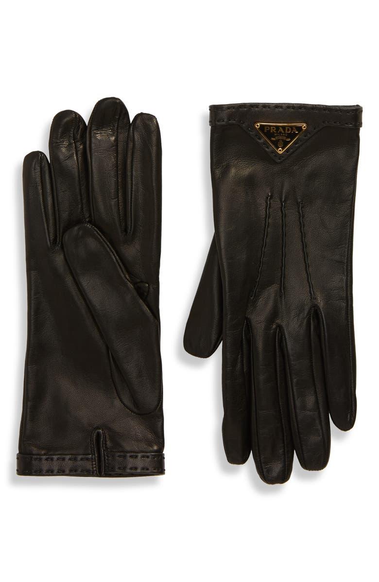 PRADA Triangle Logo Plaque Leather Gloves, Main, color, NERO