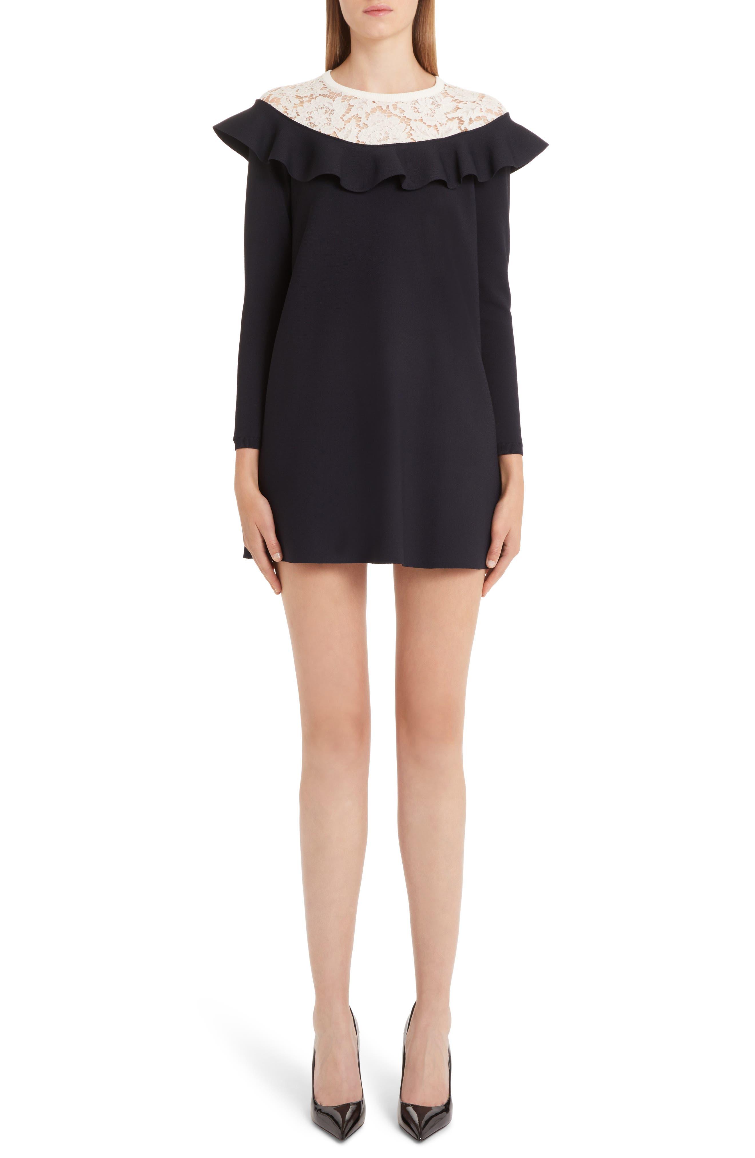 Valentino Lace & Ruffle Knit Dress, Blue