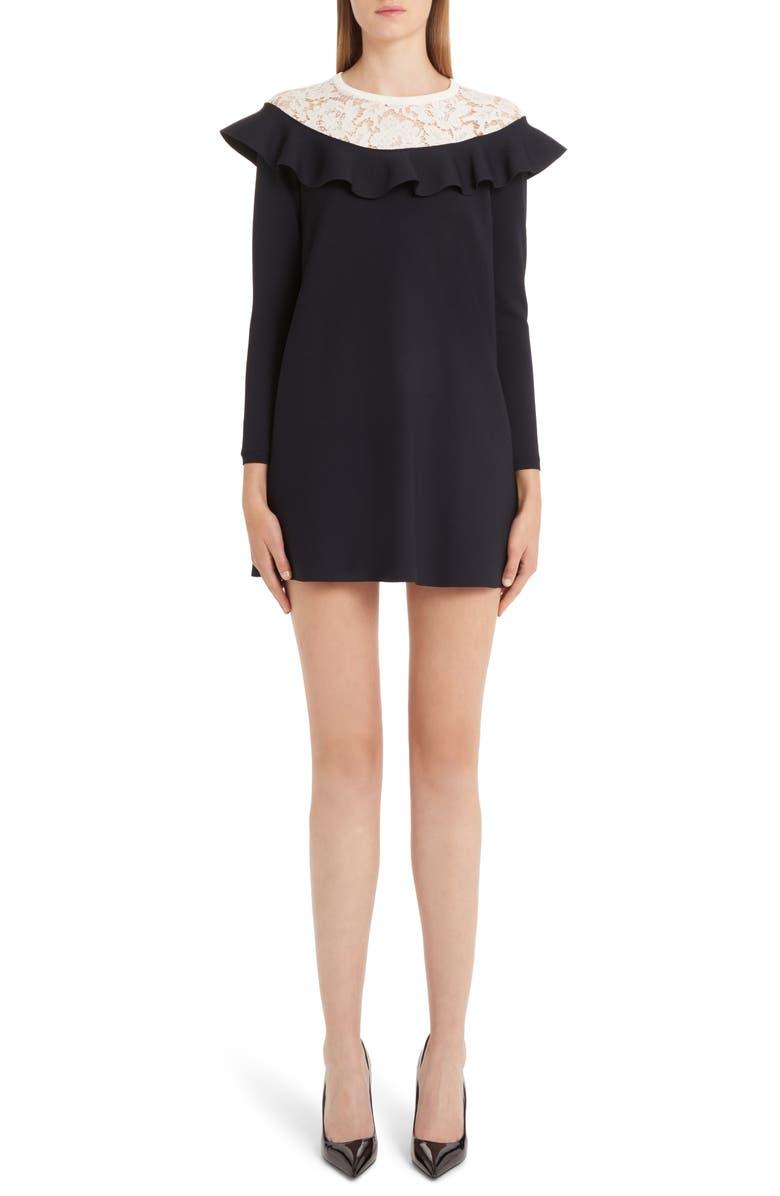 VALENTINO Lace & Ruffle Knit Dress, Main, color, 419