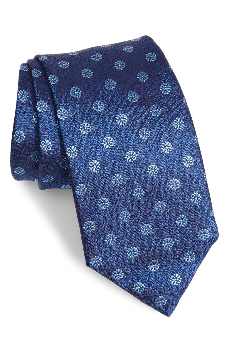 DAVID DONAHUE Medallion Silk Tie, Main, color, BLUE