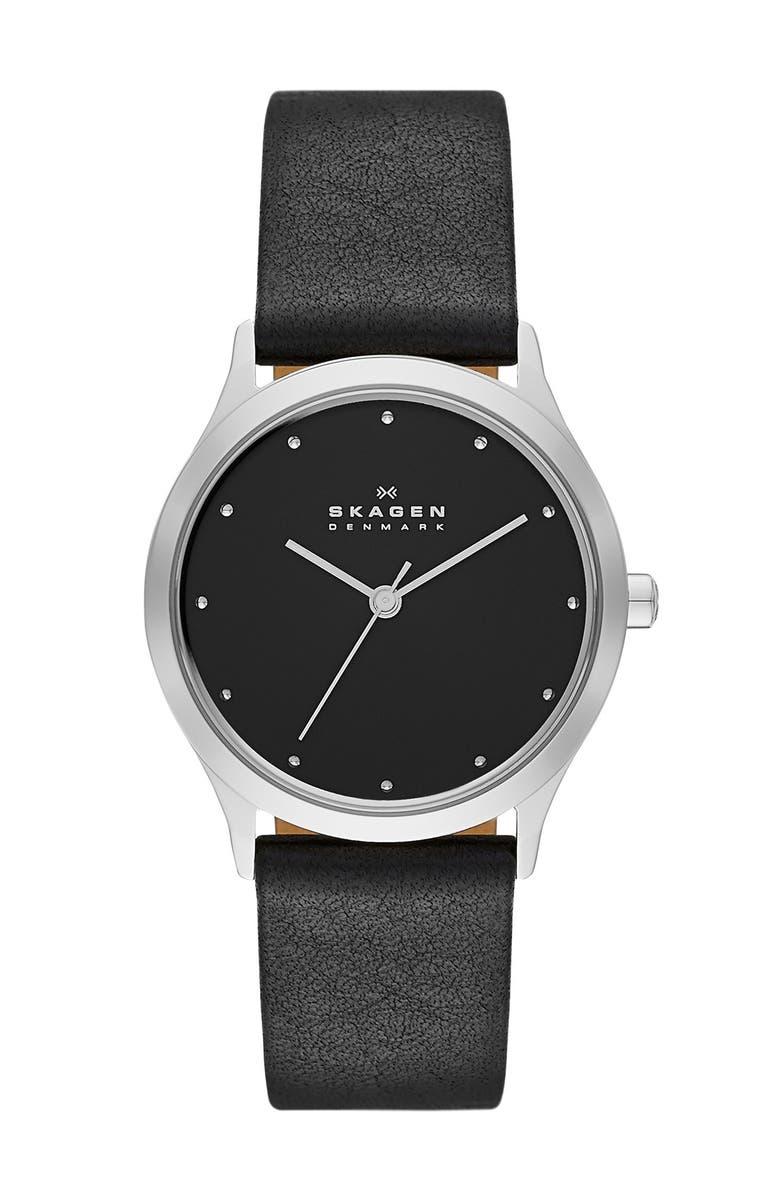 SKAGEN 'Jorn' Leather Strap Watch, 30mm, Main, color, 001