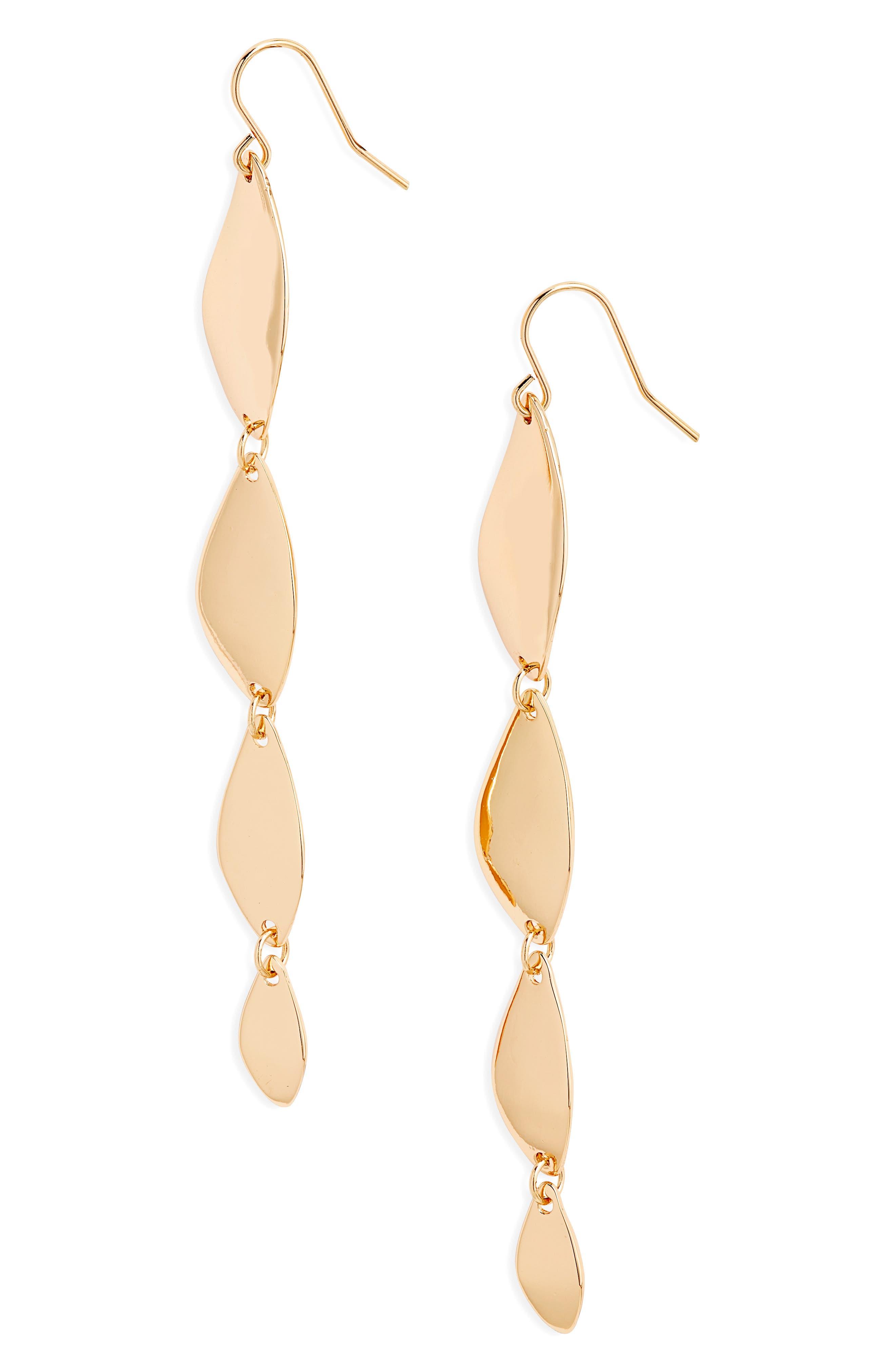 Metal Leaf Linear Earrings, Main, color, GOLD