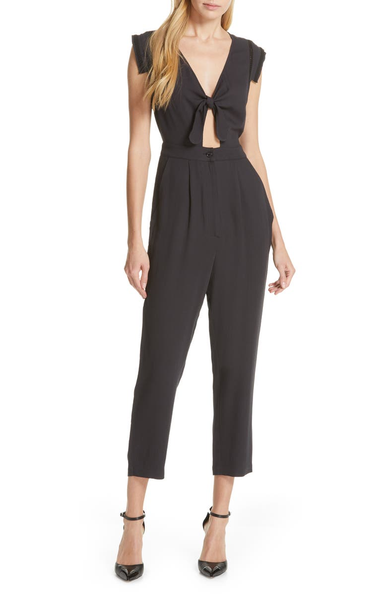 DOLAN Dolly Knot Front Jumpsuit, Main, color, 001