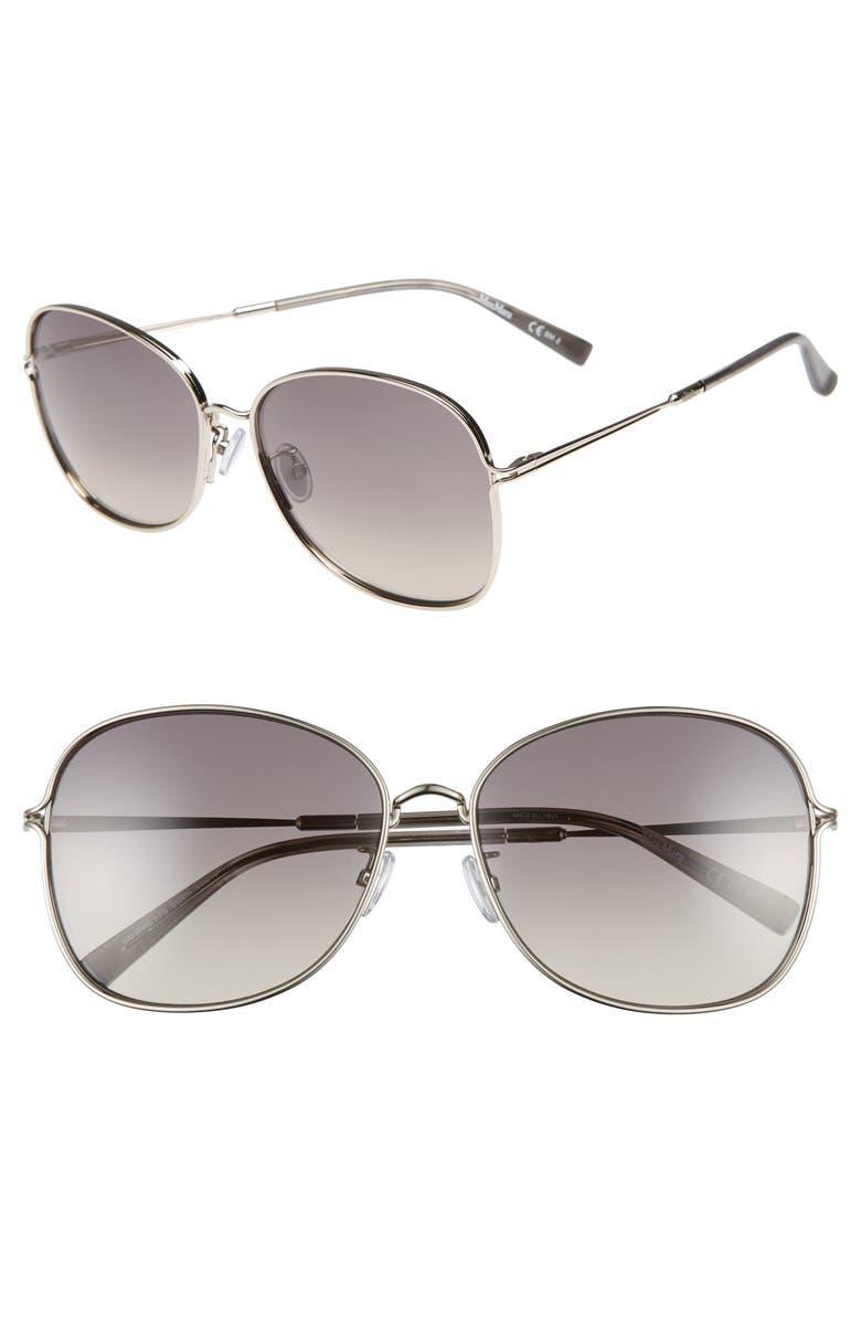 MAX MARA 60mm Aviator Sunglasses, Main, color, PALLADIUM