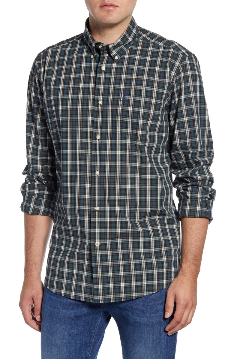 BARBOUR Highland Tailored Fit Plaid Button-Down Shirt, Main, color, GREEN