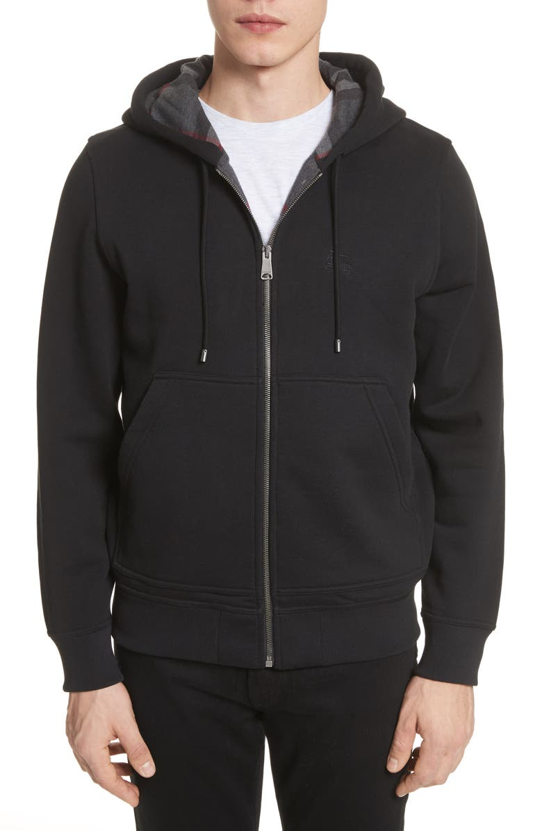 BURBERRY Fordson Fleece Hoodie, Main, color, BLACK