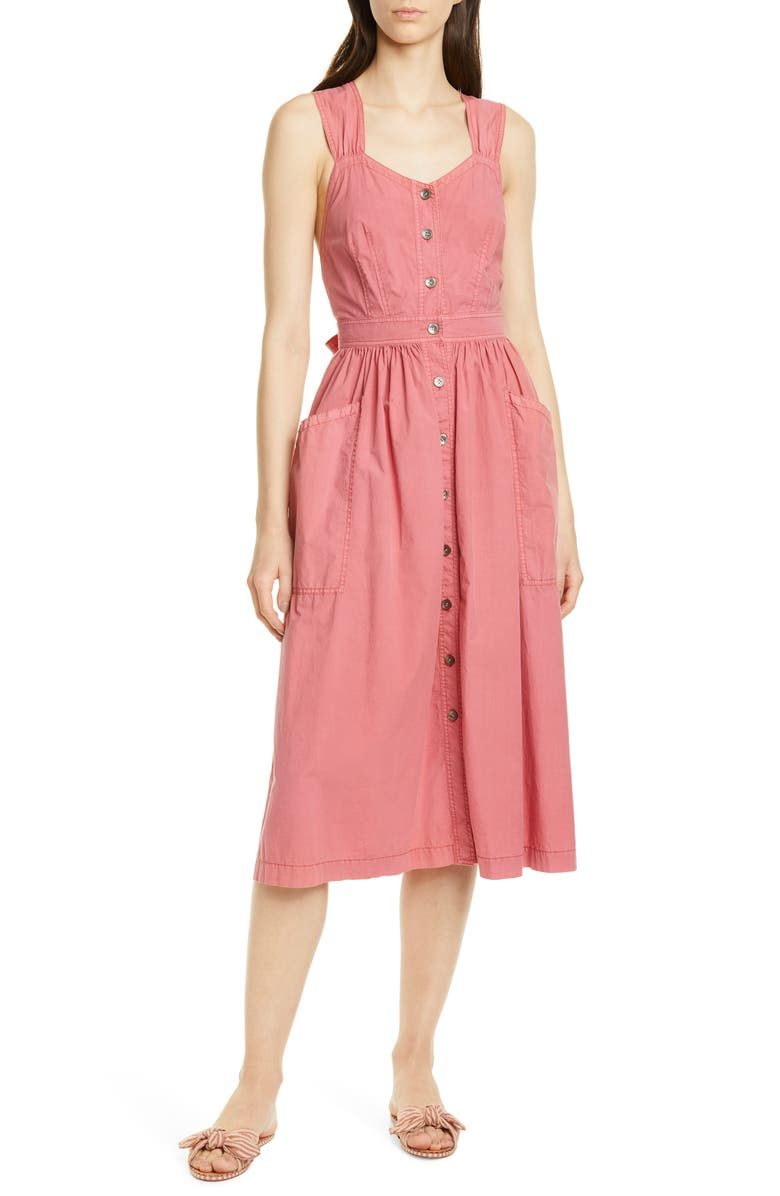 LA VIE REBECCA TAYLOR Sleeveless Cotton Poplin Dress, Main, color, DAHLIA