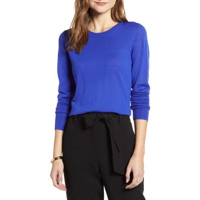 Halogen Crewneck Merino Wool Blend Sweater, Blue