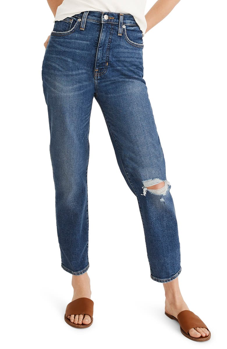 MADEWELL The Momjean Ripped High Waist Stretch Jeans, Main, color, 400