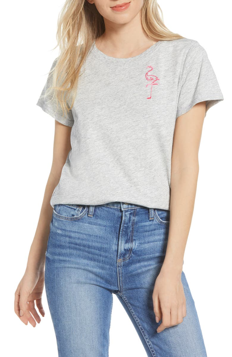 PAIGE Embroidered Flamingo Cotton Blend Tee, Main, color, 001