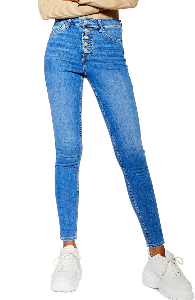 TOPSHOP Jamie High Waist Skinny Jeans, Main, color, MID DENIM