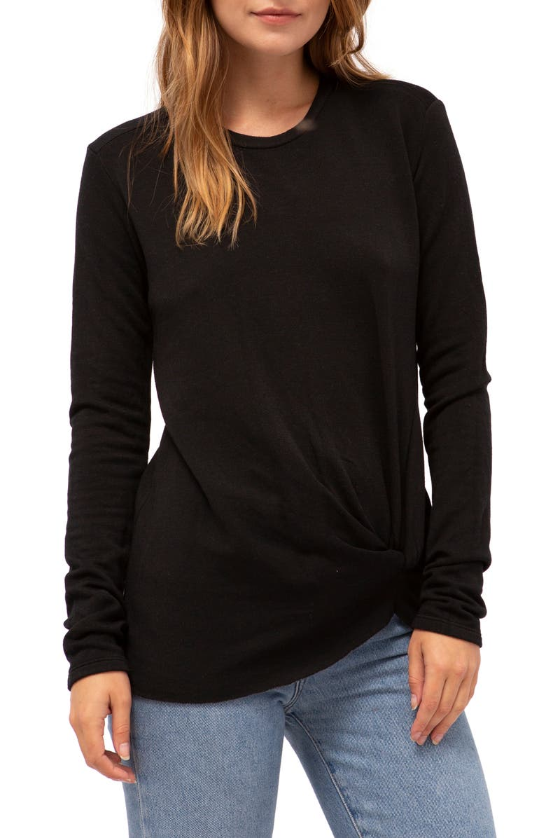 STATESIDE Twist Front Fleece Sweatshirt, Main, color, 001