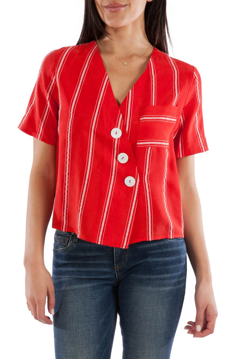 KUT FROM THE KLOTH Biancca Button Detail Stripe Shirt, Main, color, RED