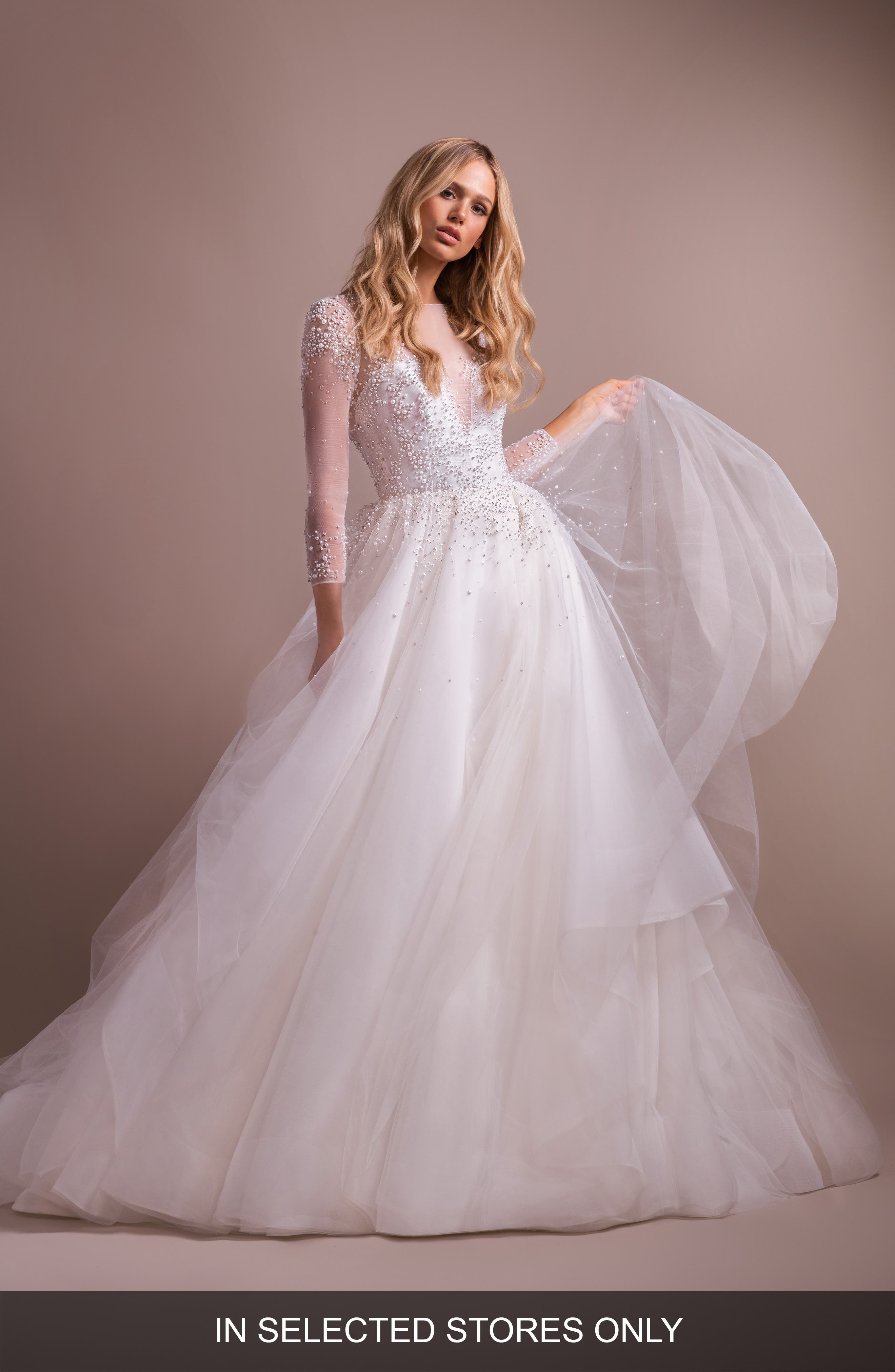 Hayley Paige Effie Long Sleeve Open Back Wedding Dress, Size - Ivory