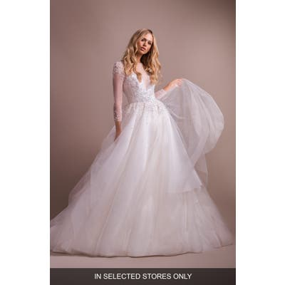 Hayley Paige Effie Long Sleeve Open Back Wedding Dress