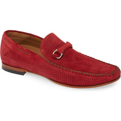Mezlan Marcello Perforated Bit Loafer, Red
