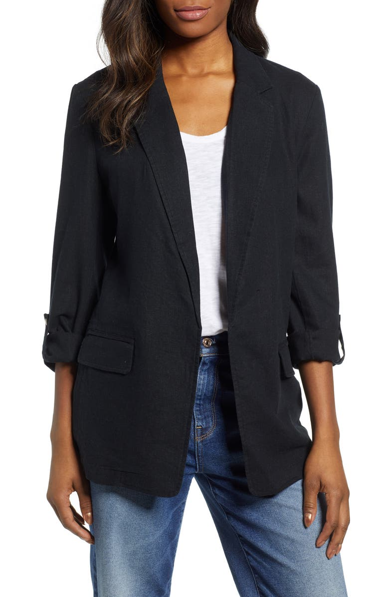 CASLON<SUP>®</SUP> Linen Blend Boyfriend Blazer, Main, color, 001