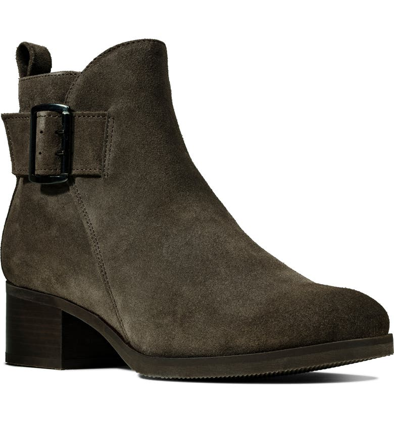 CLARKS<SUP>®</SUP> Mila Charm Bootie, Main, color, TAUPE SUEDE