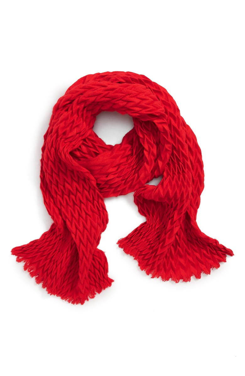 JANE & BERRY Chevron Pleated Scarf, Main, color, 600