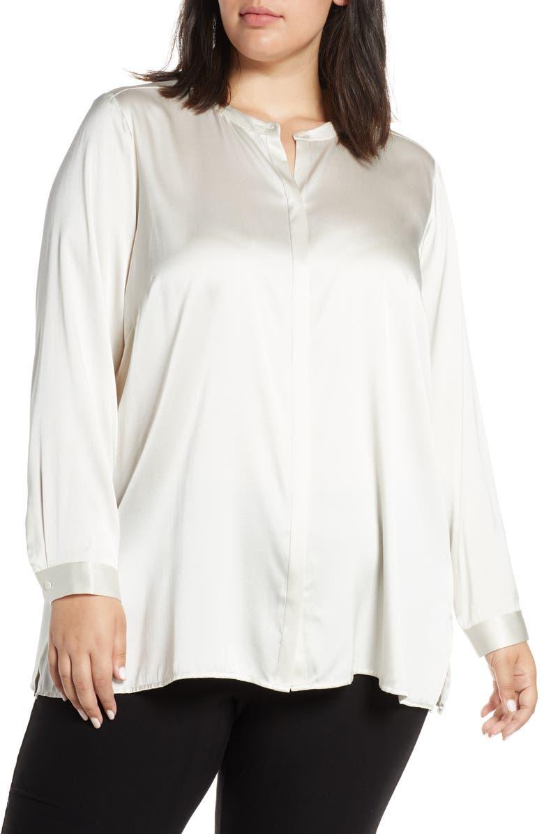 EILEEN FISHER Band Collar Shirt, Main, color, BONE