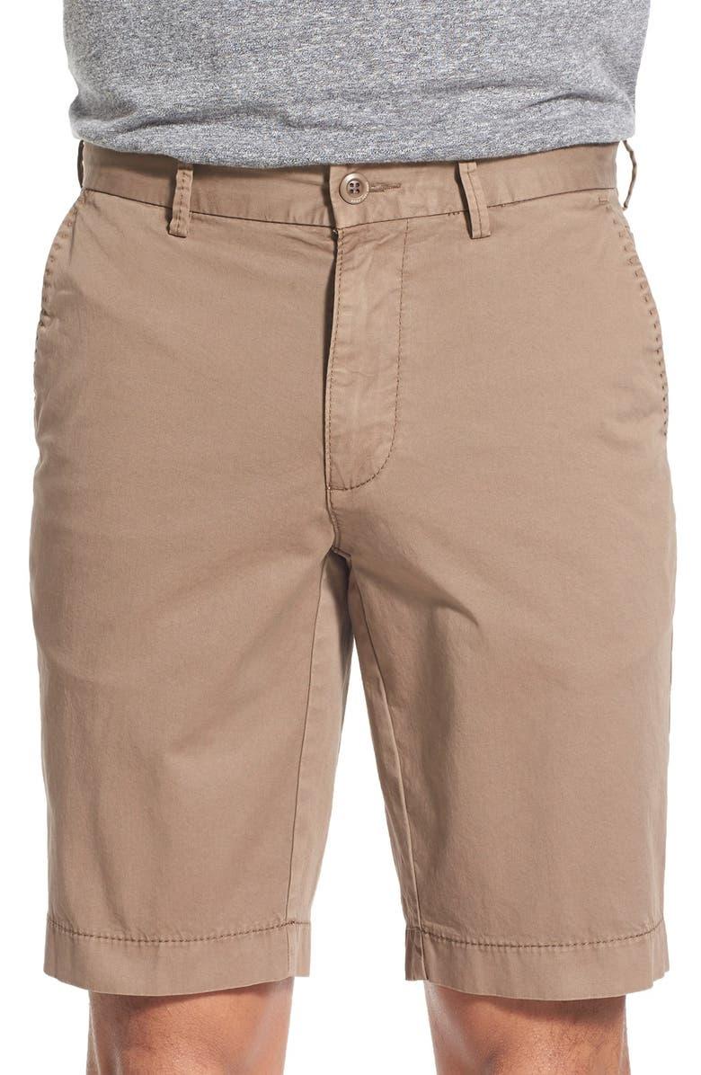 BRAX Flat Front Stretch Cotton Shorts, Main, color, OAK