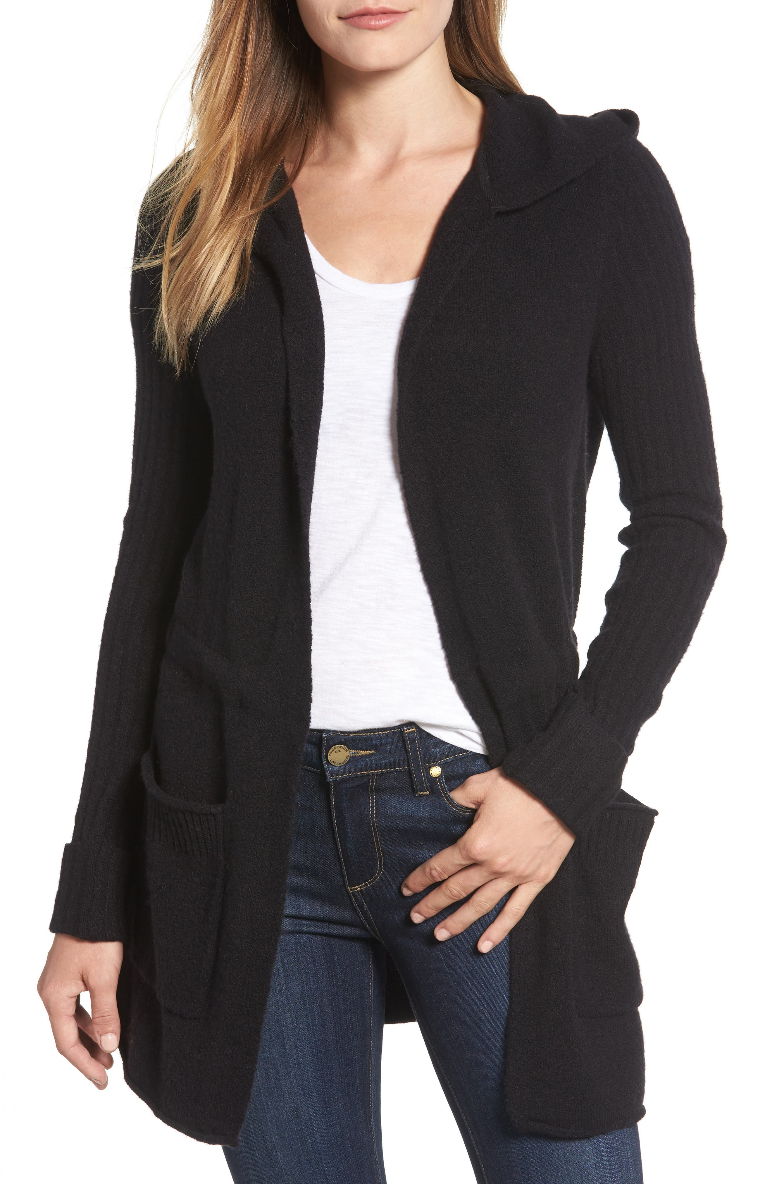Caslon® Hooded Cardigan (Regular & Petite)