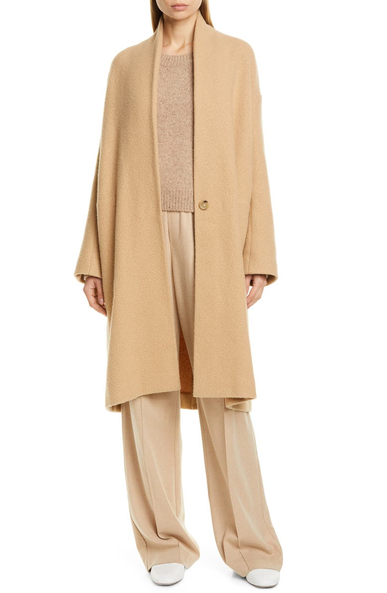 VINCE Collarless Stretch Wool Coat, Main, color, LIMESTONE