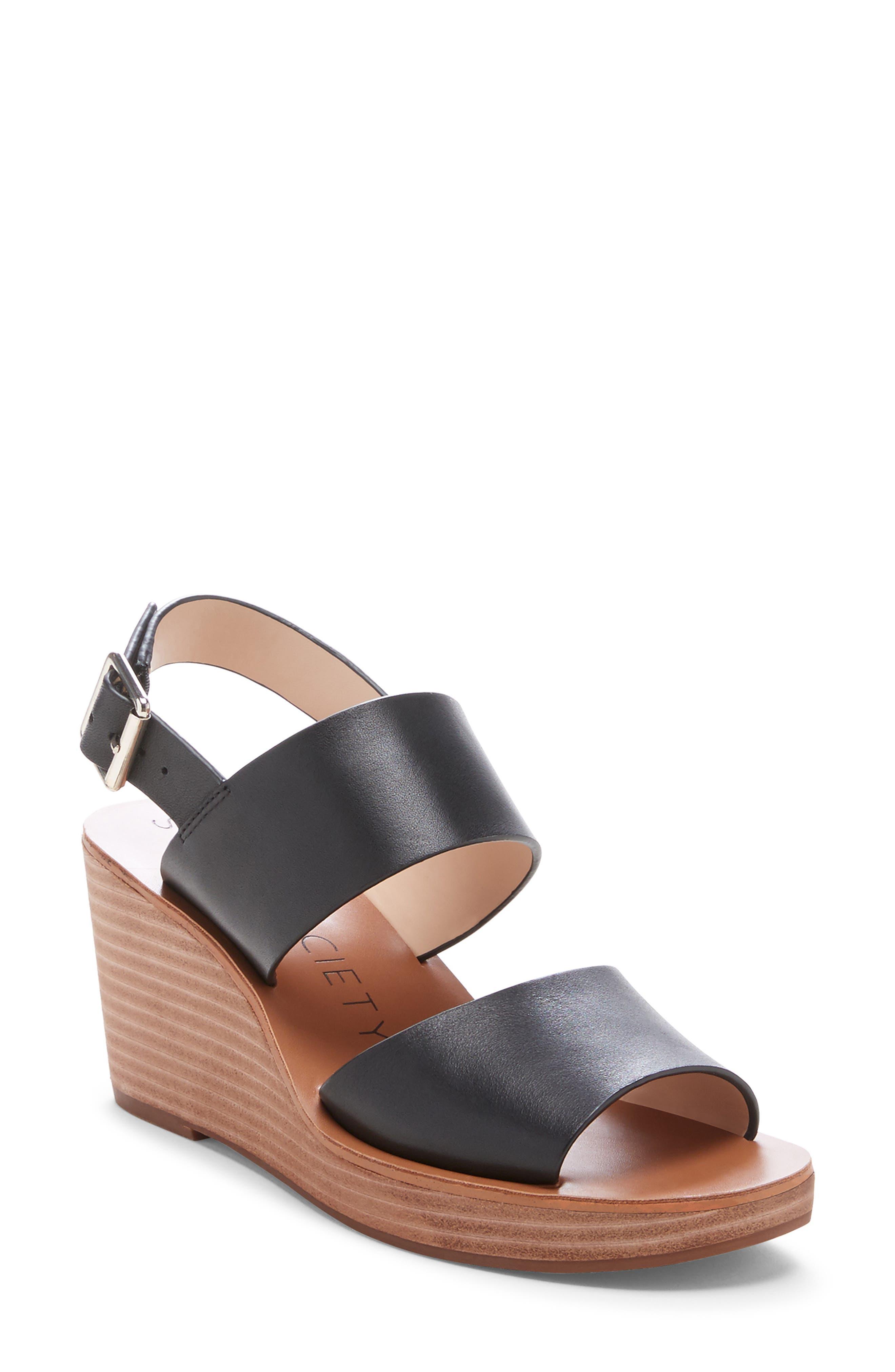 Pavlina Platform Wedge Sandal, Main, color, BLACK LEATHER