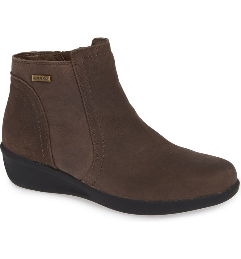ARAVON Fairlee Wedge Bootie, Main, color, BROWN WARM IRON LEATHER