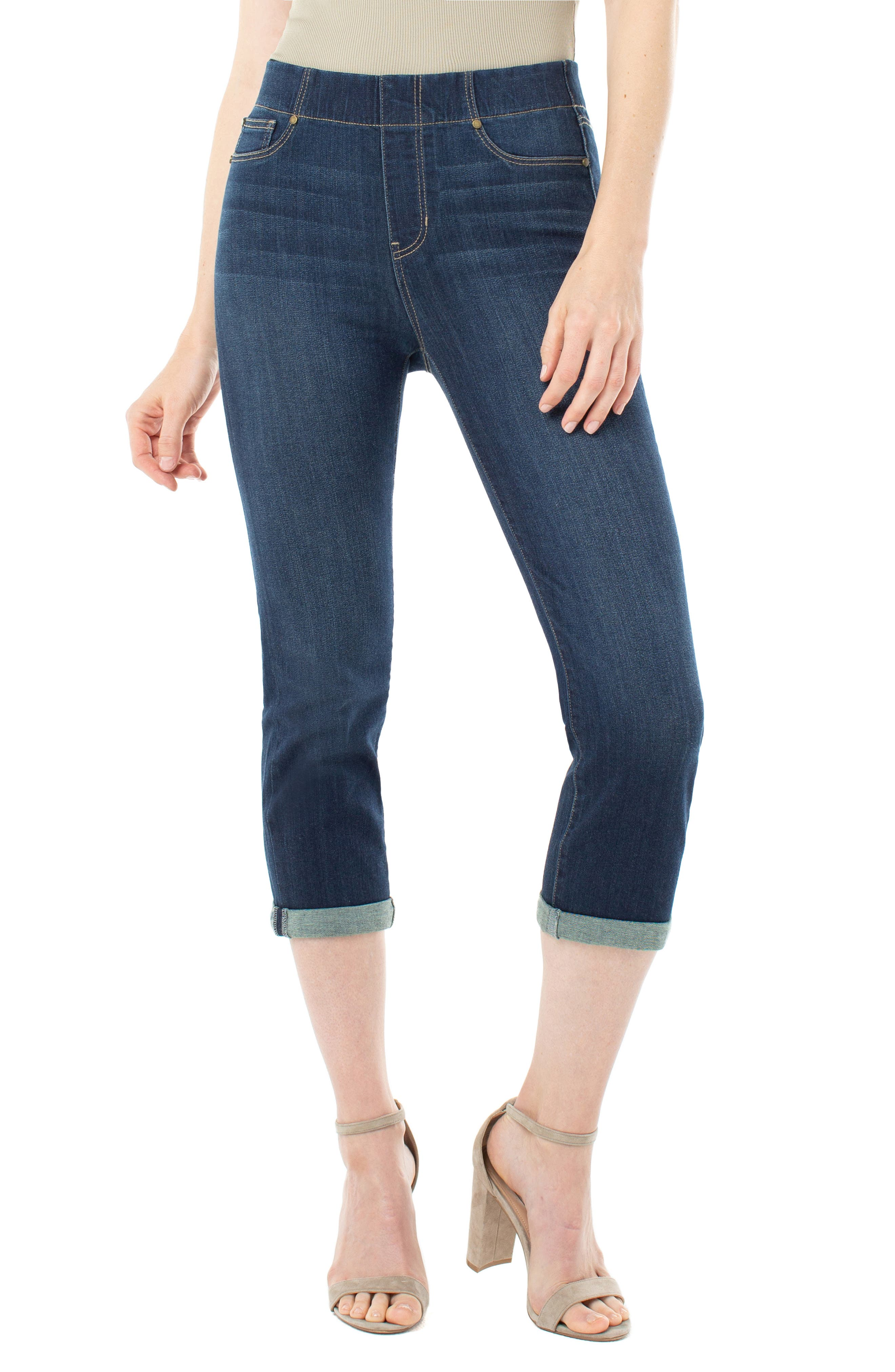 Women's Liverpool Jeans Company Chloe Roll Cuff Capri Denim Leggings,  6 - Blue