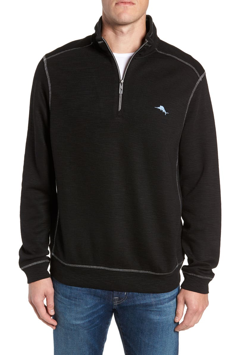 TOMMY BAHAMA Tobago Half Zip Pullover, Main, color, BLACK
