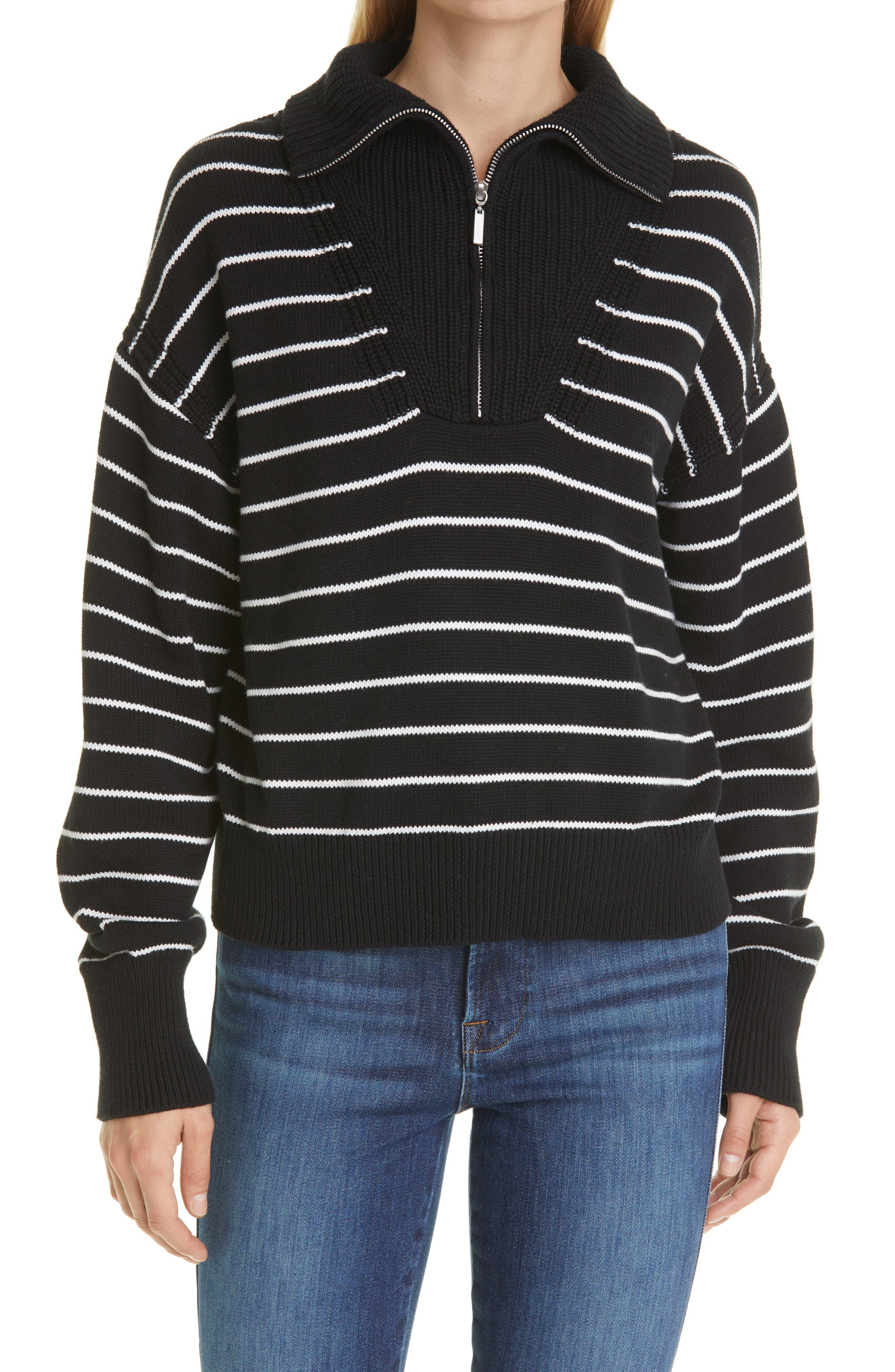 Bastien Stripe Half-Zip Cotton Sweater